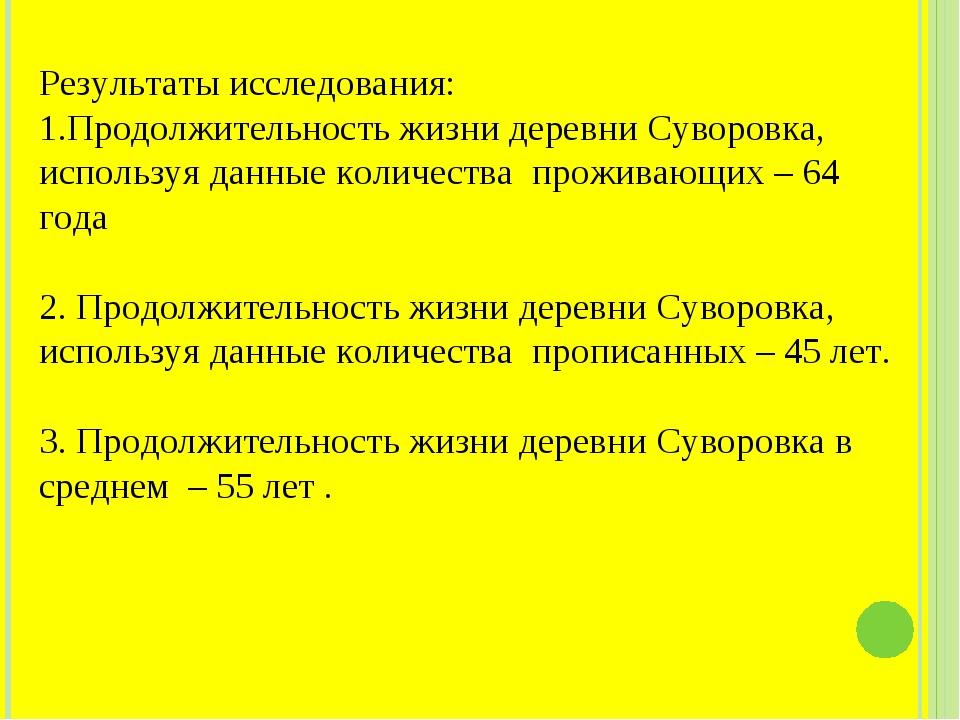 Результаты исследования: Продолжительность жизни деревни Суворовка, используя...