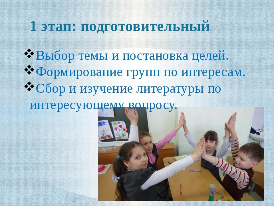 1 этап: подготовительный Выбор темы и постановка целей. Формирование групп по...