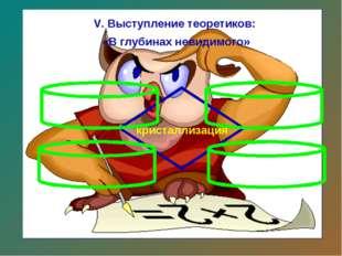 V. Выступление теоретиков: «В глубинах невидимого» кристаллизация