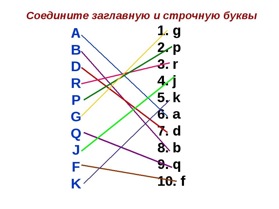 Соедините заглавную и строчную буквы A B D R P G Q J F K 1. g 2. p 3. r 4. j...