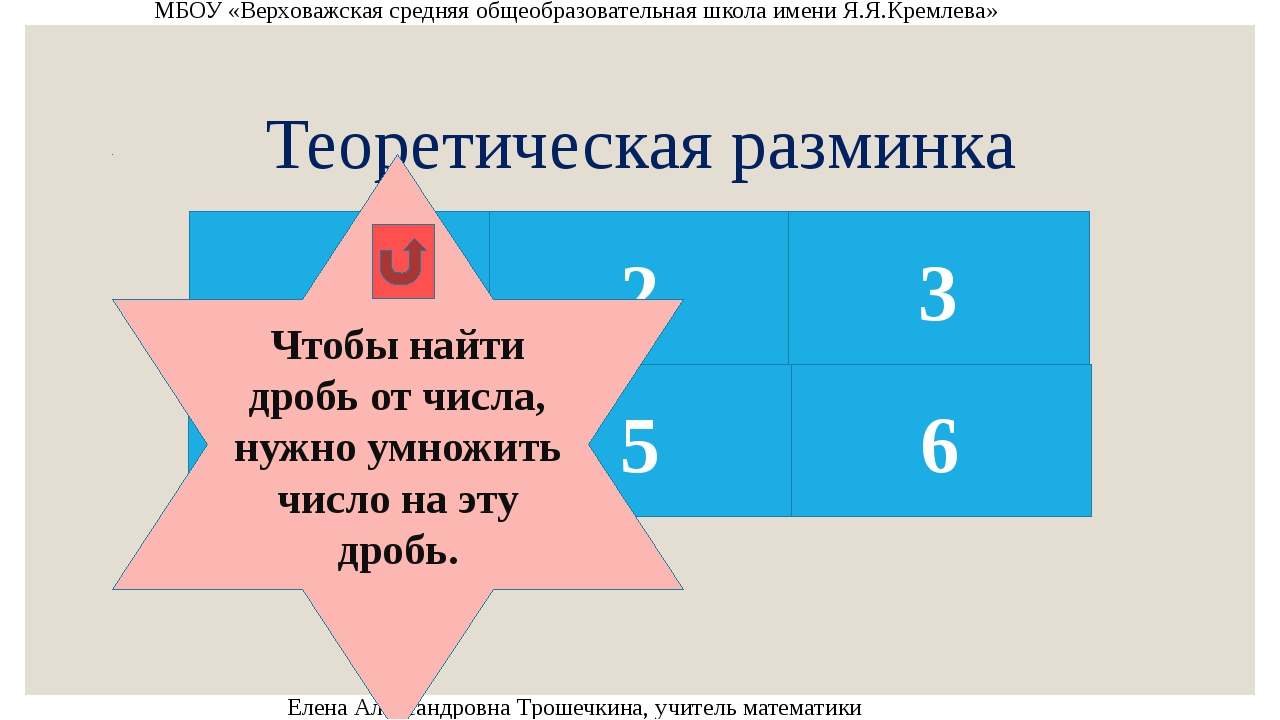 Теоретическая разминка МБОУ «Верховажская средняя общеобразовательная школа и...