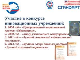 Участие в конкурсе инновационных учреждений: 1. 2008 год – «Приоритетный наци
