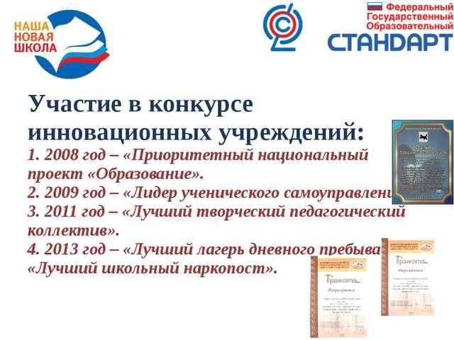 Участие в конкурсе инновационных учреждений: 1. 2008 год – «Приоритетный наци...