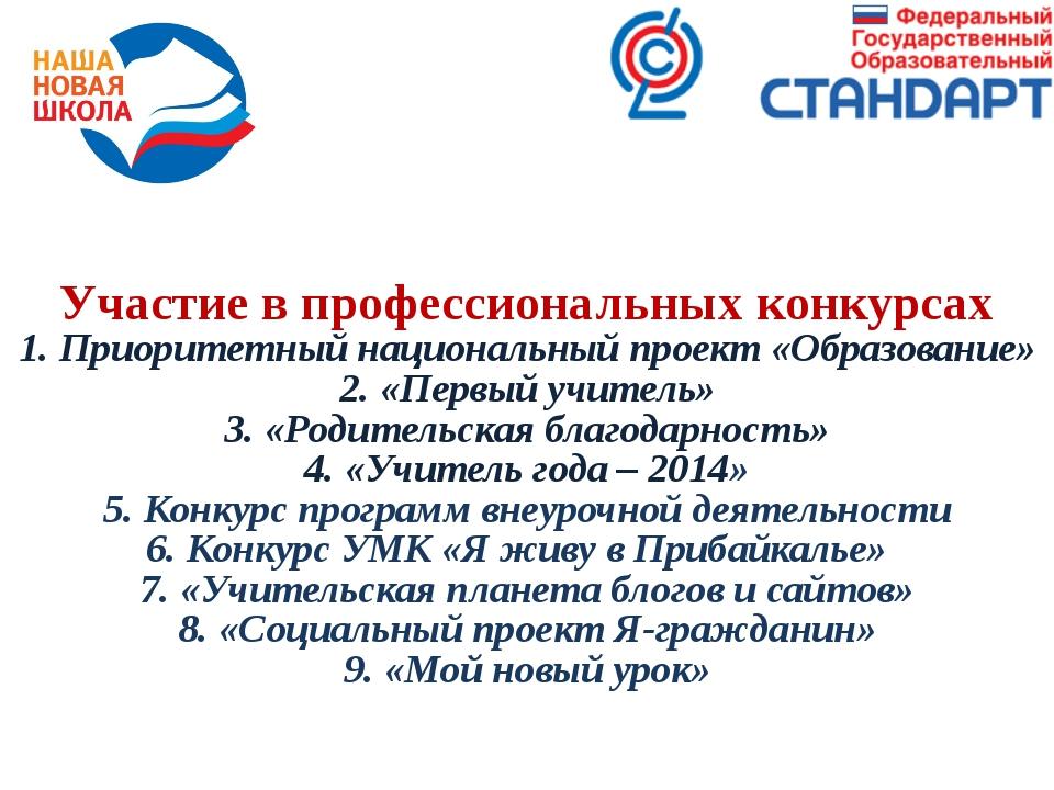 Участие в профессиональных конкурсах 1. Приоритетный национальный проект «Обр...