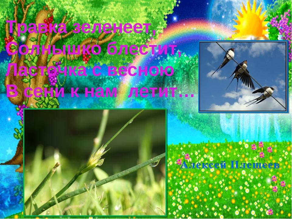 Травка зеленеет, Солнышко блестит, Ласточка с весною В сени к нам летит…