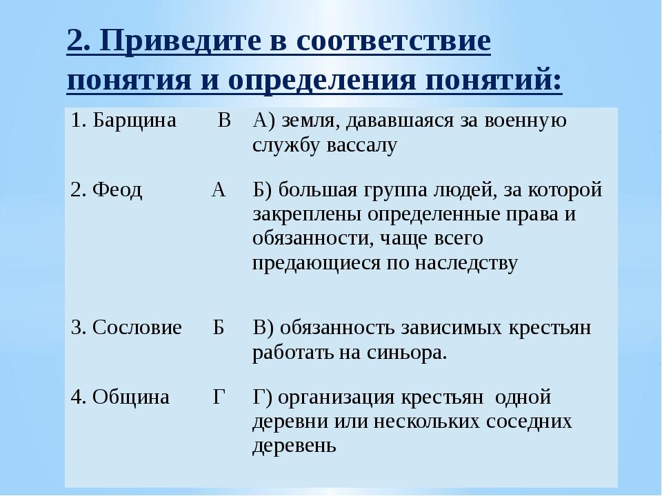 2. Приведите в соответствие понятия и определения понятий: 1. Барщина В А) з...