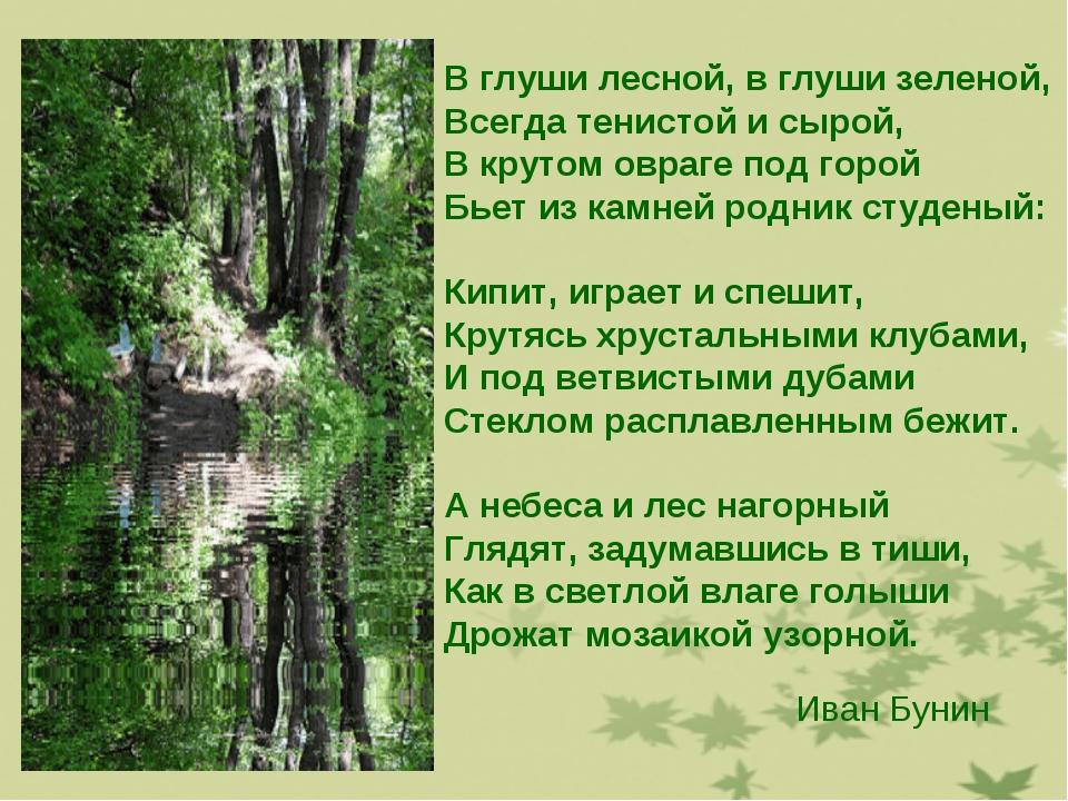 В глуши лесной, в глуши зеленой, Всегда тенистой и сырой, В крутом овраге под...