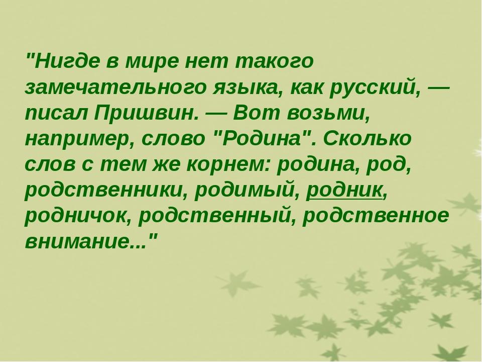 """""""Нигде в мире нет такого замечательного языка, как русский, — писал Пришвин...."""