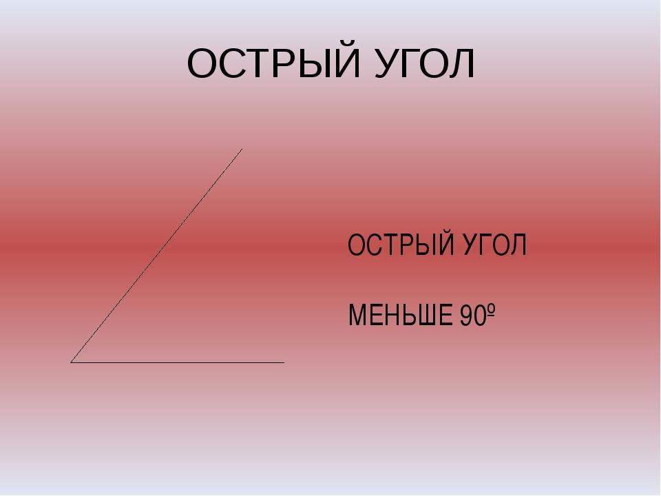 ОСТРЫЙ УГОЛ ОСТРЫЙ УГОЛ МЕНЬШЕ 90º