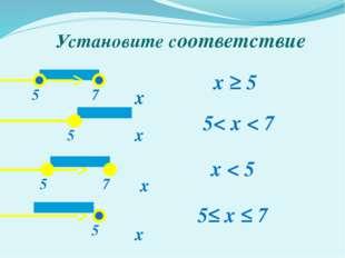 Установите соответствие х х х х x ≥ 5 5≤ x ≤ 7 5< x < 7 x < 5 5 5 5 5 7 7