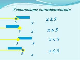 Установите соответствие х х х х x ≥ 5 x ≤ 5 x < 5 5 5 5 5 x > 5