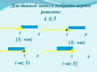 Для данной записи выбрать верное решение х х х х x ≤ 5 5 5 5 5 (-∞; 5) [5; +∞