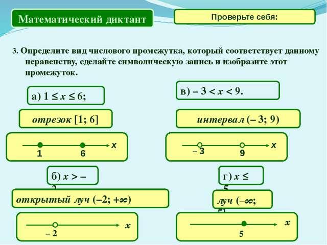 3. Определите вид числового промежутка, который соответствует данному неравен...