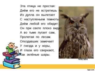 Эта птица не простая: Днём его не встретишь ты, Из дупла он вылетает С наступ