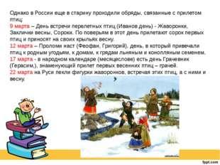 Однако в России еще в старину проходили обряды, связанные с прилетом птиц: 9