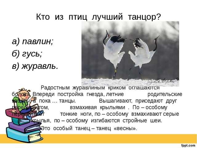 Кто из птиц лучший танцор? а) павлин; б) гусь; в) журавль.  Радостным жу...