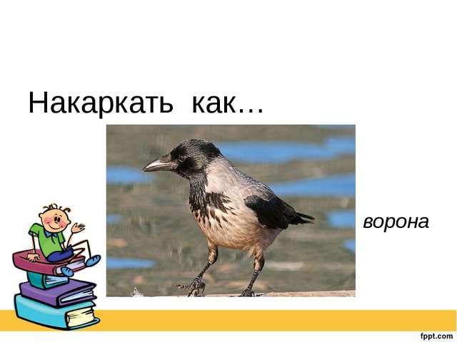 Накаркать как… ворона