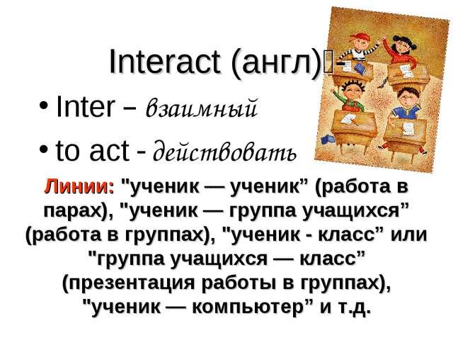 """Interact (англ) - Inter – взаимный to act - действовать Линии: """"ученик — учен..."""