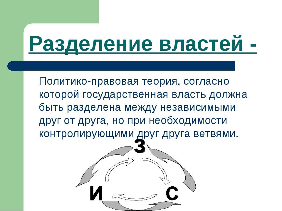 Разделение властей - Политико-правовая теория, согласно которой государствен...