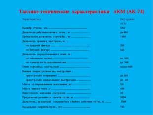 Тактико-технические характеристики АКМ (АК-74) ХарактеристикаВид оружия