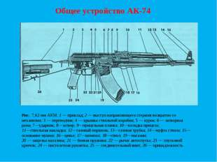 Общее устройство АК-74 Рис. 7,62-мм АКМ: 1 — приклад; 2 — выступ направляюще