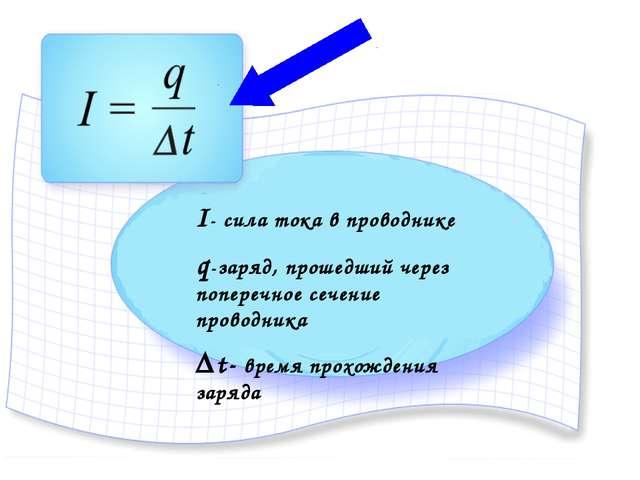 I- сила тока в проводнике q-заряд, прошедший через поперечное сечение проводн...