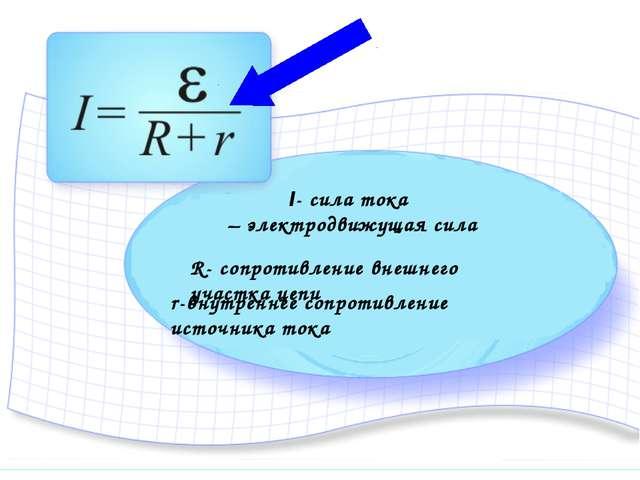 I- сила тока ξ – электродвижущая сила R- cопротивление внешнего участка цепи...