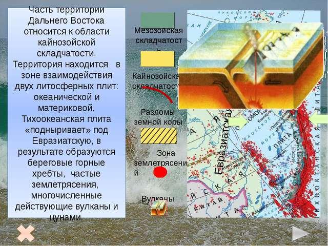 Рельеф Дальнего Востока 1 2 3 4 6 7 8 5 Чукотское нагорье 2. Корякское нагор...