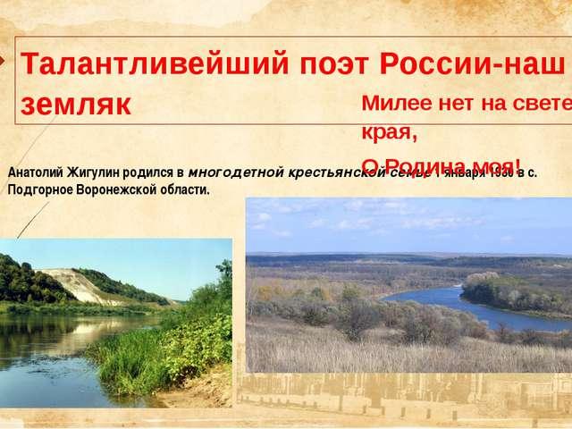 Талантливейший поэт России-наш земляк Анатолий Жигулин родился в многодетной...