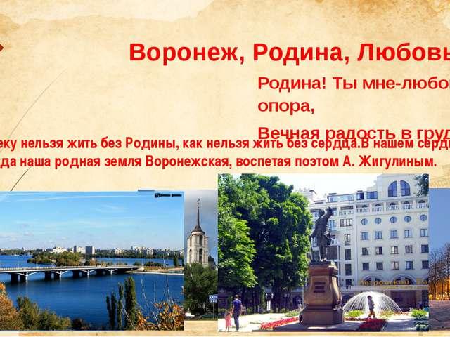 Воронеж, Родина, Любовь Родина! Ты мне-любовь и опора, Вечная радость в груд...