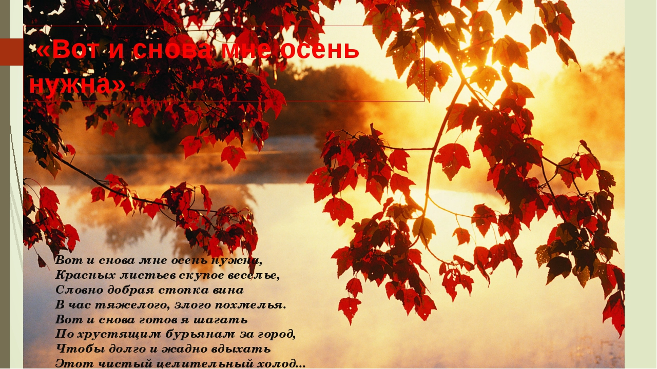 Вот и снова мне осень нужна, Красных листьев скупое веселье, Словно добрая ст...