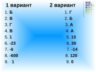 1 вариант 2 вариант 1. Б 1. Г 2. В 2. Б 3. Г 3. А 4. В 4. А 5. 1 5. 13 6. -23