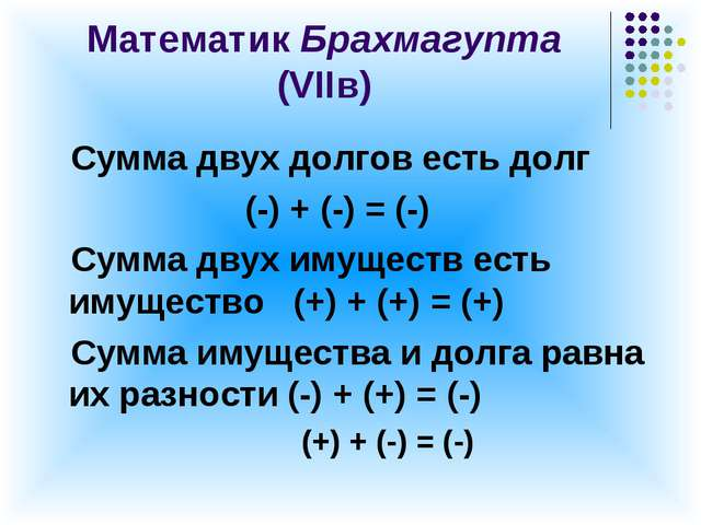 Математик Брахмагупта (VIIв) Сумма двух долгов есть долг (-) + (-) = (-) Сумм...