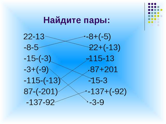Найдите пары: 22-13 -8+(-5) -8-5 22+(-13) -15-(-3) -115-13 -3+(-9) 87+201 -11...