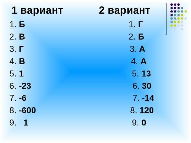 1 вариант 2 вариант 1. Б 1. Г 2. В 2. Б 3. Г 3. А 4. В 4. А 5. 1 5. 13 6. -23...
