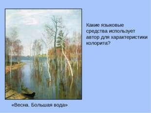 «Весна. Большая вода» Какие языковые средства использует автор для характерис