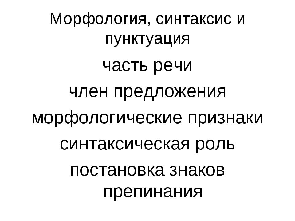 Морфология, синтаксис и пунктуация часть речи член предложения морфологически...