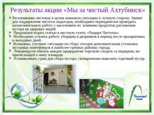 Результаты акции «Мы за чистый Ахтубинск» Расклеивание листовок в целом измен