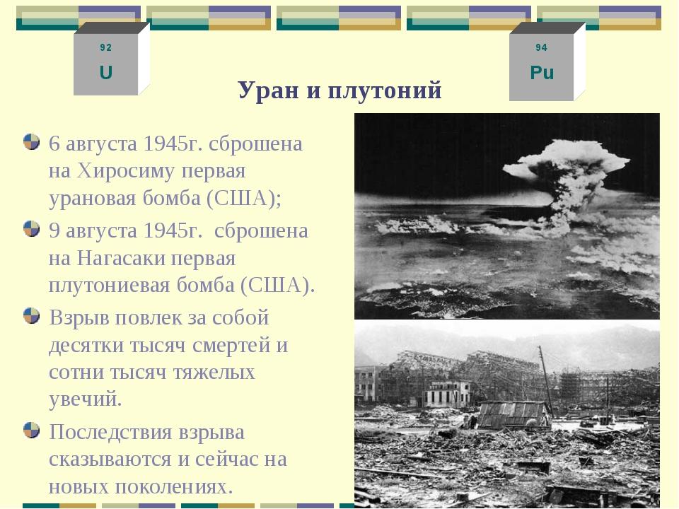 Уран и плутоний 6 августа 1945г. сброшена на Хиросиму первая урановая бомба (...