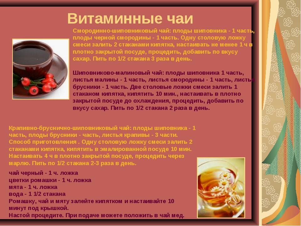 Витаминные чаи Смородинно-шиповниковый чай: плоды шиповника - 1 часть, плоды...