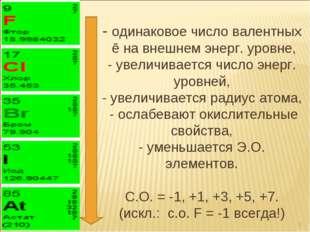 - одинаковое число валентных ē на внешнем энерг. уровне, - увеличивается числ
