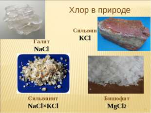 Хлор в природе Галит NaCl Cильвин КCl Cильвинит NaCl×КCl Бишофит MgCl2 *