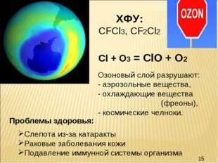 Озоновый слой разрушают: - аэрозольные вещества, - охлаждающие вещества (фрео