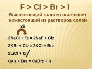 F > Cl > Br > I Вышестоящий галоген вытесняет нижестоящий из растворов солей