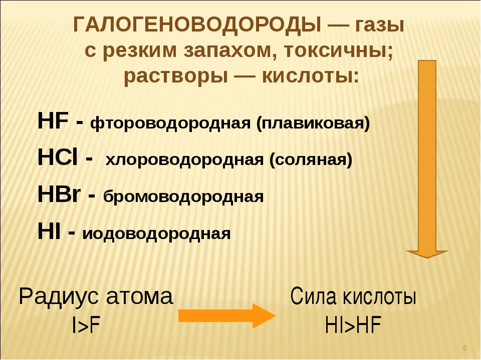 HF - фтороводородная (плавиковая) HСl - хлороводородная (соляная) HВr - бромо...