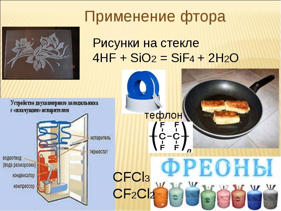 Применение фтора Рисунки на стекле 4HF + SiO2 = SiF4 + 2H2O CFCl3 CF2Cl2 тефл...