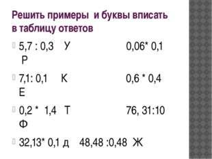 Решить примеры и буквы вписать в таблицу ответов 5,7 : 0,3 У 0,06* 0,1 Р 7,1: