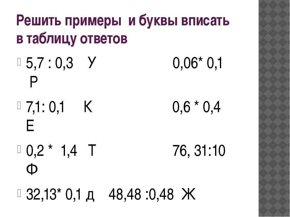 Решить примеры и буквы вписать в таблицу ответов 5,7 : 0,3 У 0,06* 0,1 Р 7,1:...