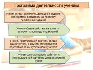 Программа деятельности ученика Ученик обязан выполнять домашнее задание, свое