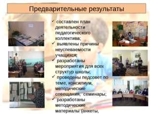 Предварительные результаты составлен план деятельности педагогического коллек